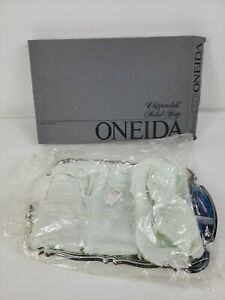 "Oneida Chippendale Relish Tray 14 3/4"" Glass Silver Plated Unused Box Appetizer"