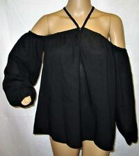 DESIGNER BLACK OFF-SHOULDER Boho Sexy PEASANT BLOUSE TOP SHIRT SZ M NWT