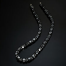 Black Men's Beads Strand Choker Necklace Hematite Magnetic  Health Care Jewelry