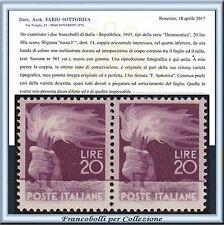 1946 Italia Repubblica Democratica Lire 20 coppia Varietà Raro n. 561 **