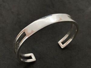 Sterling Silver Cuff Bangle 6.75 - 7.25 Inch.