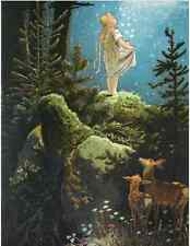 Postcard: Vintage fairy tale repro print - Little Girl in Forest w/ Stars, Deer