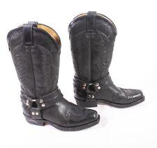 19S Sendra Damen Biker Boots Westernstiefel Gr. 36 Leder schwarz flacher Absatz