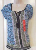 Bila Clothing Viscose Georgette Peasant Blouse Women's BLUE Sz S-XXL NWT MSRP$57
