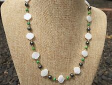 HDMD by Cyndi Necklace made of White Mother of Pearl, Green Shell, and Hematite