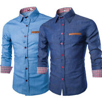 Fashion Men Denim Jeans Shirt Casual Long Sleeve Slim Fit Cotton Tops T-Shirts