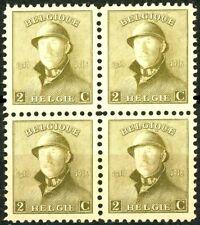 Belgium 1919 King Albert in Trench Helmet 2 Centimes Mnh Block of 4 Scott's 125