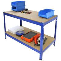 Werkbank Werktisch Arbeitstisch Arbeitsplatte Werkstatt Regal Werkzeug Blau