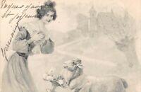 CPA fantaisie - Jeune fille et mouton tenant une corbeille d'oeufs