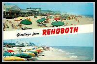 REHOBOTH BEACH DELAWARE GREETINGS, BOARDWALK, COKE, POSTCARD, MILFORD POSTMARK