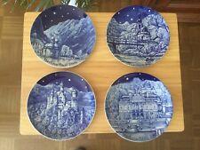 4 Weihnachtsteller Sammelteller 1986-1989 Bavaria Porzellan Echt Kobalt
