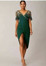 Virgos Lounge Green Embellished Julisa Wrap Wedding Party Midi Dress size 10