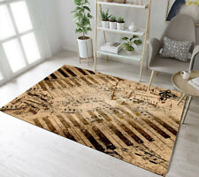 Musical Instrument Retro Piano Keyboard Area Rugs Bedroom Living Room Floor Mat