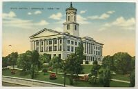 Postcard Nashville TN State Capitol Building Entrance View 1930's 1940's Linen