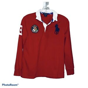 Polo Ralph Lauren Boy's Red White Logo Rugby Polo Collared Shirt Size Medium