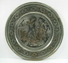 Hand Hammered carved Tooled Tin on Copper Platter Charger Middle East Persian
