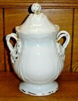 Antique REES Old Paris Porcelain Sugar Bowl - Repaired Knob On Lid - 8 1/2""
