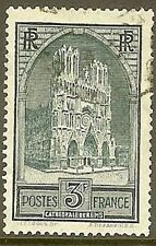 "FRANCE TIMBRE STAMP N° 259 "" CATHEDRALE DE REIMS 3F "" OBLITERE TB"