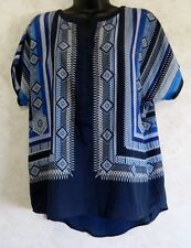 Roz & Ali Ladies Tunic Style Blouse Dolman Short Sleeve Blues & White Size Small