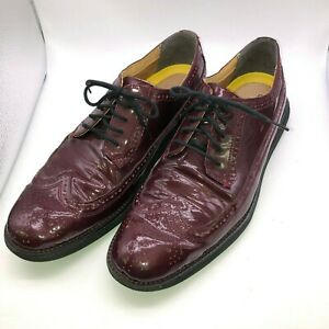 Cole Haan Grand OS Size 10 M Burgundy Wingtip Shoes Oxford Patent Leather Men's