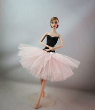 Lovely Black Pink Ballet Skirt tutu Dress outfit clothes For Barbie Doll
