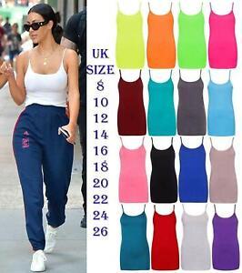 Womens Plain Cami Blouse Plus Size Stretch Long Strappy Camisole Vest Tank Top
