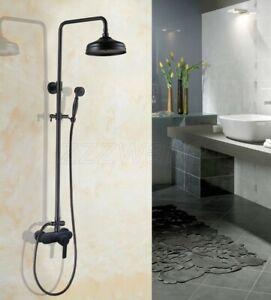 Black Oil Rubbed Bronze Bathroom Single Handle Rain Shower Faucet Set Wall Mount