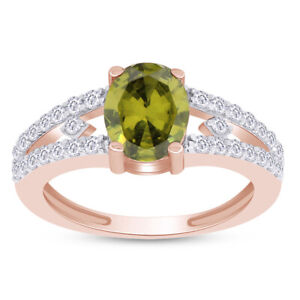 1.57 Ct Oval Green Peridot & Topaz Solitaire Engagement Ring 14K Rose Gold Over