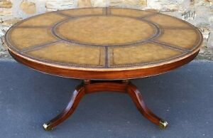 Large Twentieth Century Circular Mahogany and Leather Topped Centre Table