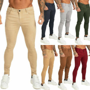 GINGTTO Men Skinny Slim Fit Chino Trouser Stretch Designer Casual Color Pant