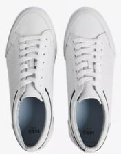 New With Tags M&S White Leather Trainers Uk 10 Us 11 Eur 44.5