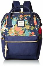 Anello official Canvas Mini Backpack AT-B0487FNV Flower Navy Authentic Japan F/S