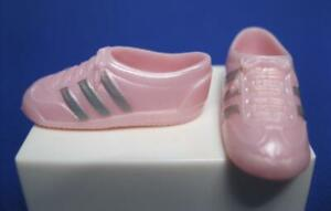 DANCE N & FLEX Barbie DOLL Clothes: BABY PINK silver stripe TENNIS SHOE TRAINERS