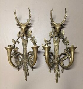 """LARGE PAIR OF DEER HEAD SOLID BRONZE SCONCES FRENCH COUNTRY STYLE 30"""" H"""