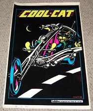 COOL CAT Chopper Motorcycle Flocked Blacklight Poster 1973 OSP Petagno OS4-375
