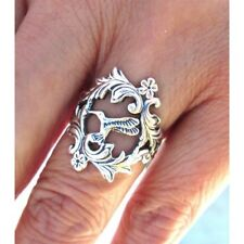 Hummingbird Ring Women Adjustable Bird Sterling Silver Flower Spoon