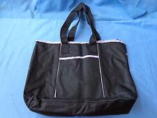 NEW CARRY ALL BAG purse diaper shoulder bag BLACK W/ LAVENDER TRIM
