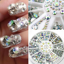 New 6 Size 300Pc Nail Art 3D Glitter Rhinestone Decoration AB Diamante Crystal