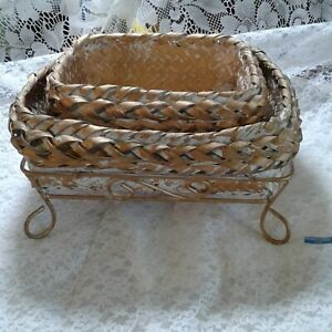 """Set 2 Gold & White Woven Baskets in Gold Metal Carriers 11.5"""" x 9.5""""& 9.75"""" x 7"""""""