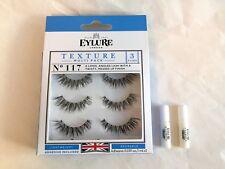 Eylure London Texture Multi Pack 3 pairs No.117 + 2 adhesive 0.03fl.oz./1ml.each
