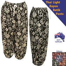 Women Ladies Summer Light  3/4 Thai Style Floral Pants shorts Size 6 - 14