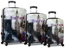 New Dejuno Polycarbnate Hard Shell Suitcase / Travel Luggage Set - New York