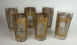 hollywood regency barware PASINSKI 22k GOLD KASHMIR HIGHBALL GLASSES (6) *R1SC23