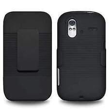 BLACK HARD SHELL CASE + BELT CLIP HOLSTER FOR HTC AMAZE 4G
