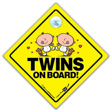 Twins On Board Car Sign, Baby On Board Sign, Baby Suction Cup Car Sign for Twins