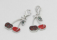 Solid Sterling Silver SPARKLING Red Cherries Charm Bracelet Pendant Necklace