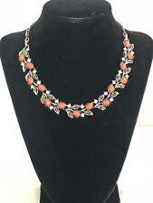 "Vtg LISNER Coral Orange Cabochon Rhinestone Leaves Choker Necklace 12-1/2"" - 16"""