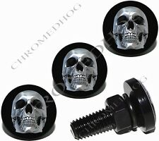 4 Black Billet Aluminum License Plate Frame Lic Fastener Bolts - Chrome Skull