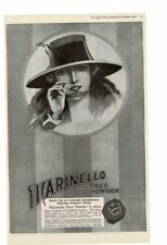 VINTAGE 1918 MARINELLO FACE POWDER ELEGANT WOMAN HAT FACE NET BEAUTIFUL AD PRINT