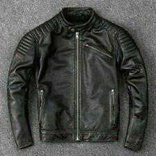 Herren Biker Vintage Distressed Schwarz Motorrad Cafe Racer Echte Lederjacke